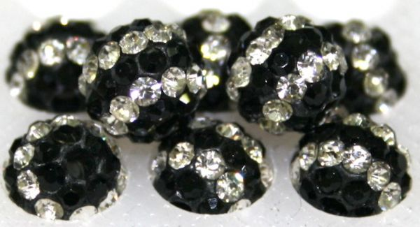 8mm Black Clear Stripes 70 Stone - Pave Crystal Beads- 2 Hole PCB08-70-048